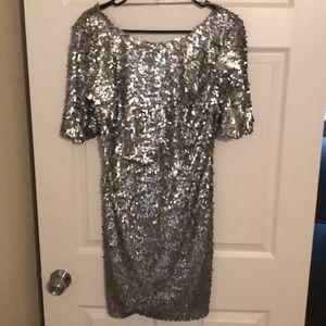 Silver sequin body con dress size L